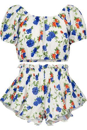 Caroline Constas Mujer Crop tops - Exclusivo en Mytheresa – conjunto de bandana, crop top y shorts de lino floral