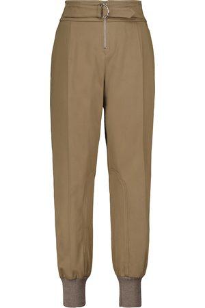 Chloé Pantalones de algodón de tiro alto