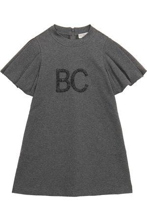 Brunello Cucinelli Vestido de algodón elástico con logo