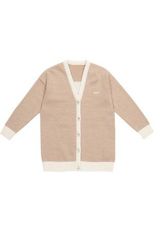 Off-White Kids Cárdigan de lana con logo