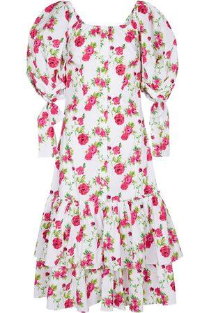 Caroline Constas Vestido midi Nella en mezcla de algodón floral