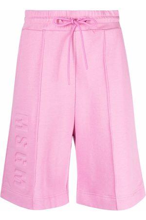 Msgm Mujer Shorts o piratas - Pantalones cortos de deporte con logo en relieve