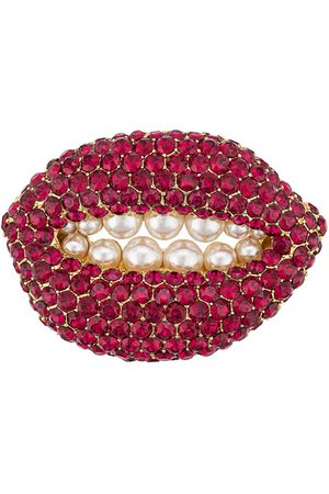 Katheleys Vintage Broche con diseño de labios con rubíes 2002