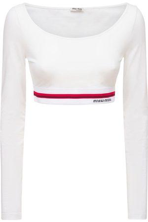 Miu Miu | Mujer Top Cropped De Jersey De Algodón Con Logo /multi Xs