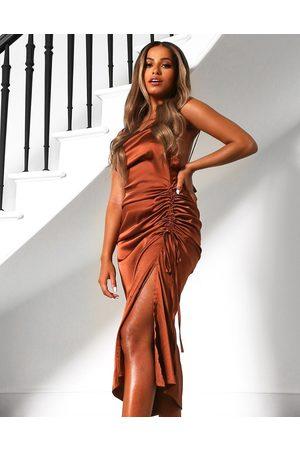 Public Desire Mujer De noche - Vestido midi color de tirantes con lateral fruncido de satén de x Amber Gill-Marrón