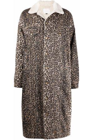 R13 Abrigo con estampado de leopardo