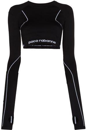 Paco rabanne Top corto con franja del logo