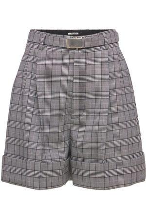 MIU MIU   Mujer Pantalón Corto De Lana Merino Príncipe De Gales /multi 36