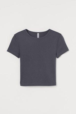 H&M Camiseta cropped en canalé