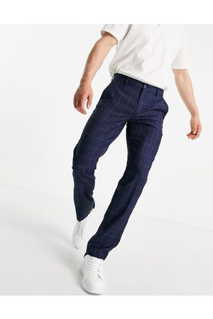 French Connection Pantalones a cuadros pequeños de corte slim de -Azul