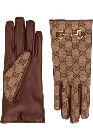 Gucci | Mujer Guantes De Lona Gg Con Horsebit /dark 6.5