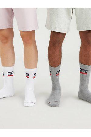 Levi's Calcetines de deporte de altura normal : paquete de 2 / White