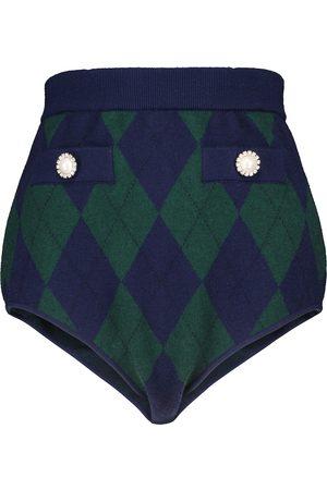 Alessandra Rich Shorts de lana de tiro alto