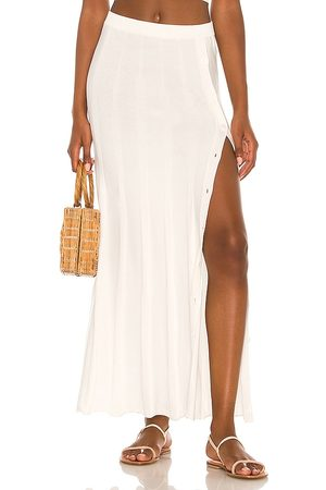 DEVON WINDSOR Falda midi aster en color blanco talla L en - White. Talla L (también en M, S, XL, XS).