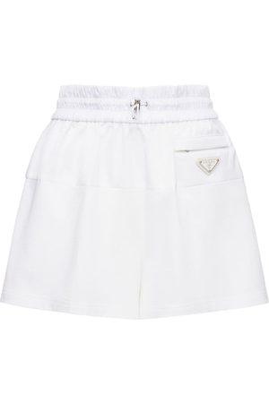 Prada | Mujer Shorts Mini De Jersey De Nylon Con Logo Intarsia Xs