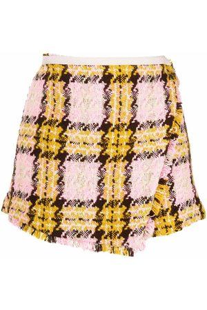 Pinko Shorts de talle alto a cuadros