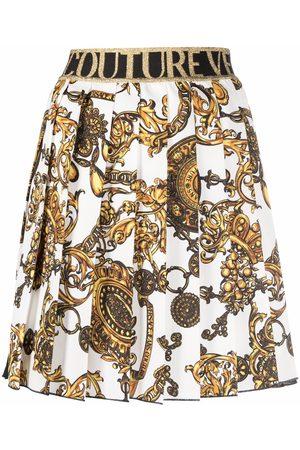 VERSACE Falda plisada con estampado Barocco