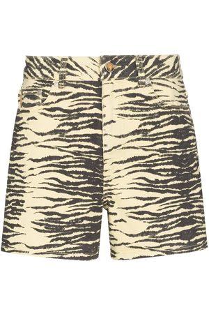 Ganni Pantalones vaqueros cortos con estampado de tigre