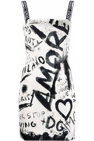 Dolce & Gabbana Vestido corto sin mangas con estampado graffiti