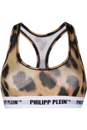 Philipp Plein Sujetador con estampado de leopardo
