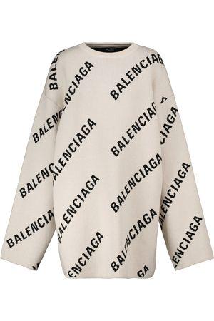 Balenciaga Mujer Jerséis y suéteres - Jersey en mezcla de lana y algodón con logo de jacquard
