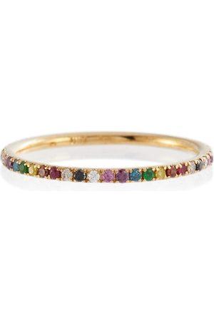 Ileana Makri Anillo Thread Band de oro de 18 ct con diamantes, rubíes y zafiros