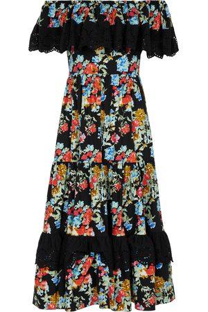 Caroline Constas Vestido midi de algodón elástico floral