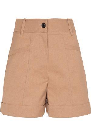 Victoria Beckham Mujer Pantalones cortos - Shorts en mezcla de algodón de tiro alto
