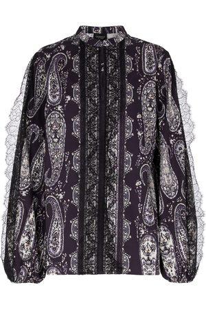 Giambattista Valli Blusa de algodón con encaje paisley