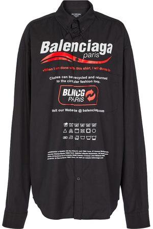 Balenciaga Camisa de popelín de algodón con logo