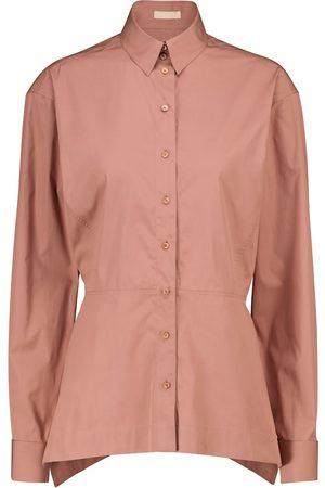 Alaïa Camisa péplum de popelín de algodón