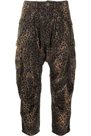 R13 Pantalones capri con estampado de leopardo