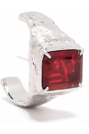 AMBUSH S SQUARE CUT STONE EARRING PLATINO RED