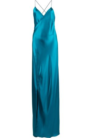 Michelle Mason Vestido de fiesta de seda con tiras cruzadas