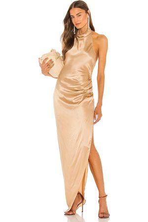 Amanda Uprichard Vestido largo samba en color beige,metallic neutral talla L en - Beige,Metallic Neutral. Talla L (también en