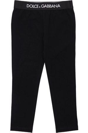 Dolce & Gabbana   Niña Leggings De Algodón Interlock Con Logo 4a