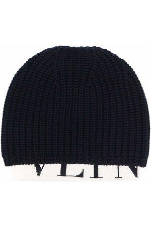 VALENTINO Ribbed knit logo-hem beanie