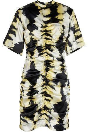 Ganni Vestido corto de seda elástica tie-dye