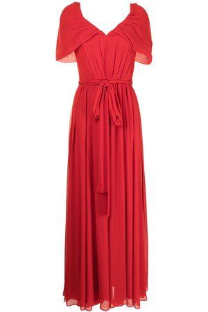 Badgley Mischka Pleated V-neck gown