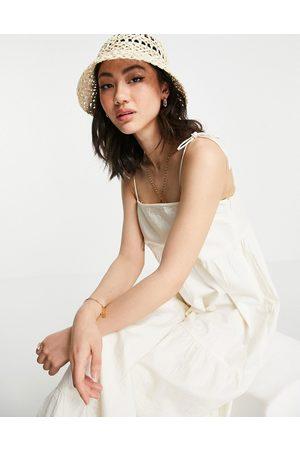 Pretty Lavish Vestido de verano escalonado con tirantes anudados de