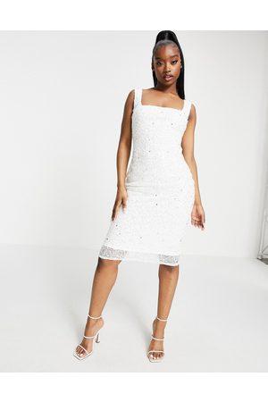 Goddiva Vestido midi con escote cuadrado y diseño adornado exclusivo de