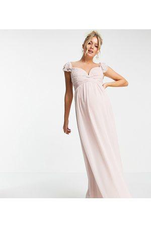 Little Mistress Vestido largo color rosa con mangas acampanadas, diseño adornado y cintura cruzada de