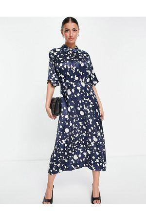SELECTED Vestido midi azul con estampado monocromático de Femme-Multicolor