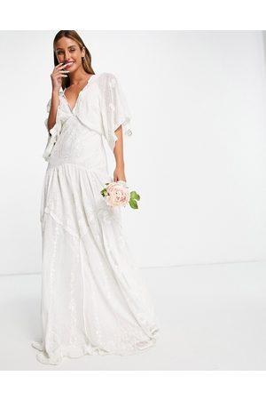 ASOS Vestido de novia de plumeti bordado de malla Jessica de -Blanco