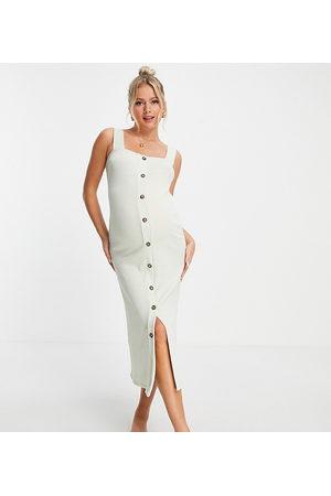ASOS Mujer Midi - Vestido midi color salvia de tirantes con acabado texturizado y botones tipo cuerno de ASOS DESIGN Maternity-Blanco