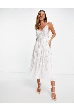 ASOS Vestido midi de tirantes con diseño de estilo vintage y pedrería de adorno de -Blanco