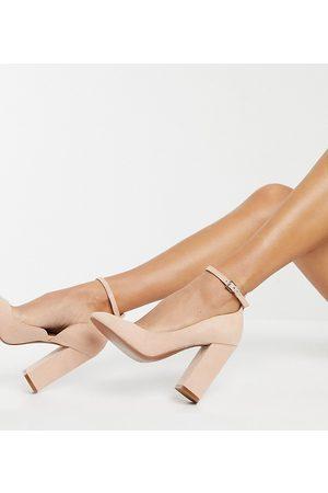 ASOS Zapatos beis de corte ancho con tacón alto cuadrado Placid de -Neutro