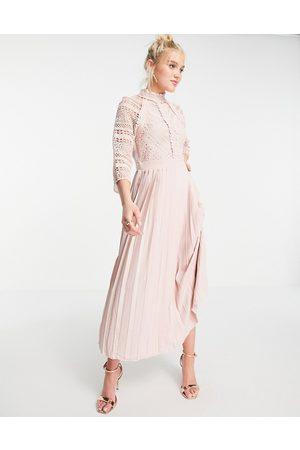Little Mistress Mujer Midi - Vestido semilargo rosa con detalle de encaje de