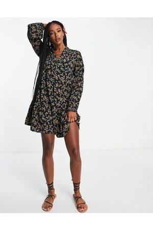 Object Vestido corto negro estampado Nina de