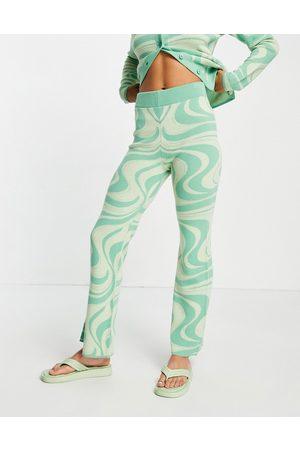 ASOS Pantalones verdes con estampado arremolinado de punto de (parte de un conjunto)